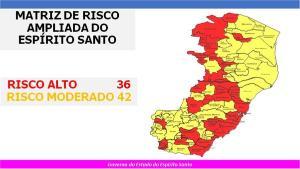 Atualização foi feita neste sábado (06). O Estado conta com 36 municípios com risco alto para a doença e outros 42 apresentam risco moderado