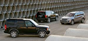 2007 Cadillac Escalade AWD vs. 2006 Land Rover LR3 HSE vs. 2007 Mercedes-Benz GL450 Suspension & Exterior - Full Size SUV Road Test Comparison - Motor Trend