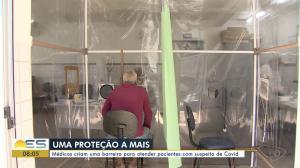 Profissionais da Unidade de Saúde de Jardim Marilândia, em Vila Velha, criaram a barreira de proteção para atender pacientes com suspeita de coronavírus