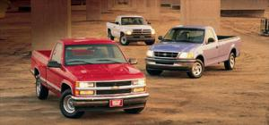 Chevy C1500, Dodge Ram 1500 LT, and Ford F-150 XL - Motor Trend Magazine