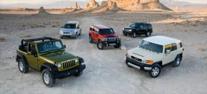 2008 Hummer H3 vs 2008 Jeep Wrangler vs 2008 Land Rover LR2 vs 2008 Nissan Xterra vs 2008 Toyota FJ Cruiser - Off-road 4x4 SUV Comparison - Motor Trend
