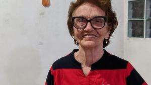 O maior jogador da história do time, Zico é o grande ídolo da Dona Sylvina Rossini Dalmaschio; ela se emocionou com a homenagem inesperada
