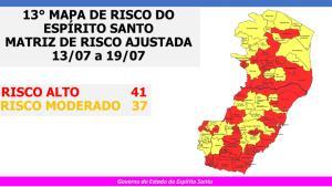 Apesar de mudanças, Estado continua com 41 municípios nesta categoria e os outros 37 no risco moderado; classificação vale até o próximo domingo (19)