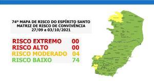 Ecoporanga, Irupi, Ibatiba e Guaçuí estão no risco moderado; classificação foi divulgada nesta sexta-feira (24) e vale a partir da próxima segunda (27)