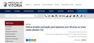 Convocação no site da Prefeitura da Capital, poucos minutos do início do agendamento on-line, motivou muitas reclamações nas redes sociais neste sábado(12)