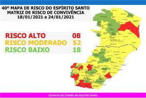 Anchieta, Apiacá, Bom Jesus do Norte, Conceição do Castelo, Guaçuí, Iúna, Mimoso do Sul e São Mateus estão classificados com o risco alto de contágio da doença a partir de segunda (18)