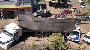 Com a manobra do caminhão, a carga tombou em cima de uma viatura estacionada e uma antiga árvore também veio ao chão. Ninguém ficou ferido no acidente