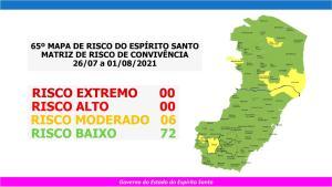 Ao todo, seis cidades estão no risco moderado, e os demais 72 municípios capixabas seguem em risco baixo para a transmissão do coronavírus