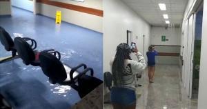 A tempestade ocorrida na noite deste domingo (08) também atingiu alguns setores do Hospital Estadual de Urgência e Emergência. Pacientes precisaram ser transferidos para andares superiores