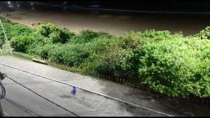 O batuque chamou a atenção dos moradores da região da Enseada Azul, que gravaram o 'desfile', na noite de sábado (14)