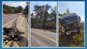Acidente ocorreu na manhã desta quarta-feira (15). Segundo a PRF, o motorista da carreta foi liberado após der submetido ao teste de etilômetro, que teve resultado negativo