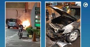Imagens mostram veículo em chamas, na noite desta quinta-feira (21). Segundo o Corpo de Bombeiros, não houve vítimas