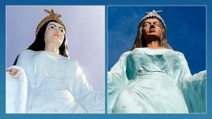 Na inauguração do monumento, em 1988, a 'Rainha do Mar' era branca e inspirada em Nossa Senhora dos Navegantes. Ao longo dos anos, a reivindicação da representação mais próxima de sua origem africana ganhou força e, em 2017, ela passou por nova pintura