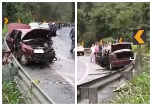 Batida aconteceu no km 38, na altura de Santa Isabel. Vítimas foram socorridas por ambulâncias e, posteriormente, transferidas para o hospital São Lucas, em Vitória.
