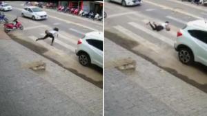Apesar do susto e do risco que correu ao parar no meio do asfalto, Daniele Kapiche Figueiredo só 'ralou' a mão. Conversamos com ela, que agora se diverte com a situação