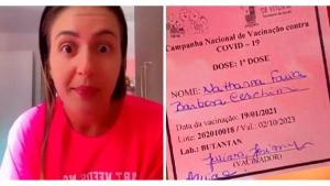 Nathana Ceschim publicou vídeo afirmando que a vacina contra a Covid-19 seria equivalente à água; demissão foi confirmada por ela nesta segunda-feira (25)