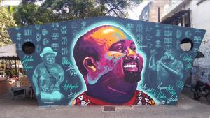 Arte foi feita pelo capixaba Luhan Gaba em parceria com Starley Bonfim e retrata o ativista em sua faceta política e cultural