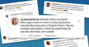 O ES recebeu 36 pacientes de Manaus. Uma das internautas, Jéssica Ramos, contou que o sogro está entre os transferidos: 'Nosso coração está grato e cheio de esperança', escreveu