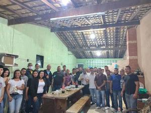 Prefeito em exercício Thiago Peçanha (Republicanos), prefeito afastado Luciano Paiva e outros pré-candidatos da sigla aparecem em fotos sem máscara