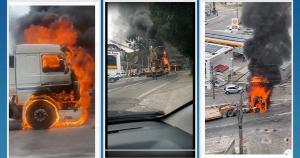 Veículo começou a pegar fogo na cabine na Avenida Lacerda de Aguiar, no bairro Gilberto Machado, em Cachoeiro de Itapemirim, na manhã desta segunda (20)
