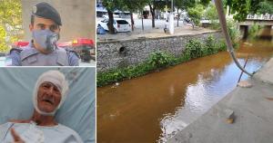 O soldado Berto se arriscou e conseguiu salvar a vida de Mário Mateus de Oliveira, 90 anos, que caiu em um rio no Centro de Ecoporanga