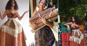 Luma Guarçoni, 25 anos, é autora da coleção 'An Ode to the Gambiarra', que utiliza materiais de origem artesanal, como redes de pesca recicladas, látex natural de seringueiras e escamas de peixe recortadas a mão