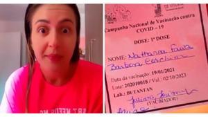 Nathana Ceschim publicou vídeos nas redes sociais em que aparece sem máscara no local de trabalho e disse que só tomou a vacina para poder viajar