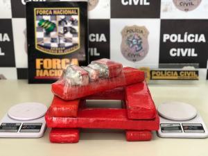 O rapaz foi apreendido com 10 quilos de maconha; segundo a polícia, o jovem utilizava a lanchonete como fachada para a atividade criminosa