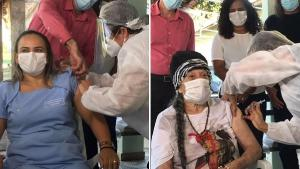 A profissional de saúde Cristina Sampaio e a moradora do asilo Anailde Quaresma, de 86 anos, foram escolhidas para serem imunizadas na cidade do Norte do Espírito Santo
