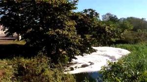 Morador da região afirma que a espuma tem cerca de 1,5 metro de altura; Prefeitura de Cariacica afirmou que fenômeno é gerado em razão da presença de esgoto e matéria orgânica