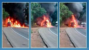 Trânsito foi totalmente liberado por volta das 9h. O incêndio começou por volta das 7h desta sexta-feira (25) e, segundo a Polícia Rodoviária Federal (PRF), não houve vítimas