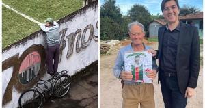 Como a coluna mostrou, seu Leonildo Filetti se equilibra em cima de uma bicicleta para ver os jogos do Rio Branco de Venda Nova