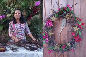 Ainda dá tempo! Você vai precisar apenas de raízes, arame, algumas flores e enfeites de natal que você já tenha em casa