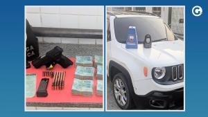 Suspeito de 45 anos foi preso e, com ele, a polícia apreendeu um Jeep Renegade com documentação clonada, uma pistola 9 mm e cerca de R$ 98 mil em dinheiro nesta quinta (9)