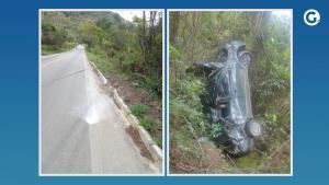 A motorista perdeu o controle do veículo, saiu da pista e caiu em uma ribanceira às margens da rodovia na manhã desta sexta-feira (24). Apesar do susto, ela não se feriu