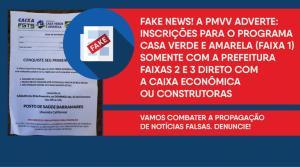 A Prefeitura de Vila Velha identificou cartazes oferecendo cadastro habitacional para o Programa Casa Verde e Amarela na Região 5, afixados em equipamentos públicos no bairro Barramares, mas afirmou que a informação é falsa e criminosa