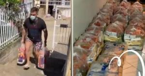 O próprio ex-BBB 21 capixaba recebeu as doações e entregou as 40 cestas básicas nesta terça-feira (11). Ao todo, fã-clube do casal arrecadou mais de R$ 6 mil para a ação solidária