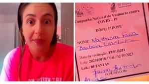 Na última sexta (22), a enfermeira Nathana Ceschim publicou vídeos em que aparece sem máscara no local de trabalho e também debochando da vacina contra a Covid-19
