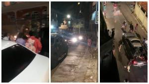 Após homem ser detido por policiais da Coordenadoria de Operações e Recursos Especiais (Core) neste sábado (10), grupo tentou impedir a saída dos veículos do bairro e policiais lançaram granada de gás lacrimogêneo