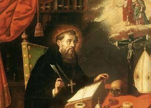 Uma ilustração caótica trazendo o santo, e que poderia ser feita por qualquer um de nós