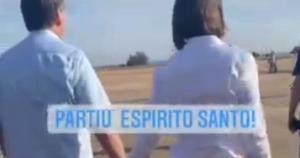 Em vídeos divulgados nas redes sociais pelo deputado federal capixaba, Neucimar Fraga (PSD), gravado antes das 9h, o político mostra a chegada do presidente na Base Aérea da capital federal