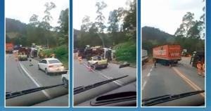 A batida aconteceu no quilômetro 361 e um motorista precisou ser socorrido para um hospital em Cachoeiro de Itapemirim