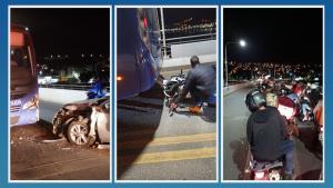 Acidente aconteceu na noite desta quinta-feira (23), na Ponte Florentino Ávidos. Motorista do carro afirmou à PM que ingeriu bebida alcoólica