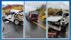 Um caminhão e um carro de passeio se envolveram em uma batida na tarde desta quinta-feira (5). Duas pessos morreram no local e outras duas foram socorridas com vida