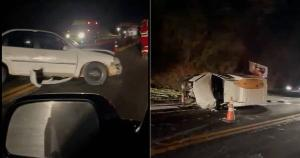 Segundo informações da PRF, pelo menos duas pessoas ficaram feridas e foram socorridas; um dos veículos ficou capotado