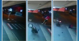 Fernando Santos Fernandes, 31 anos, sofreu um acidente no dia 21 deste mês, em Cachoeiro de Itapemirim; vídeo mostra momento em que ele 'voa'