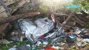Caminhão perdeu o freio, capotou e a bateu em uma árvore às margens da BR 262, em Pequiá